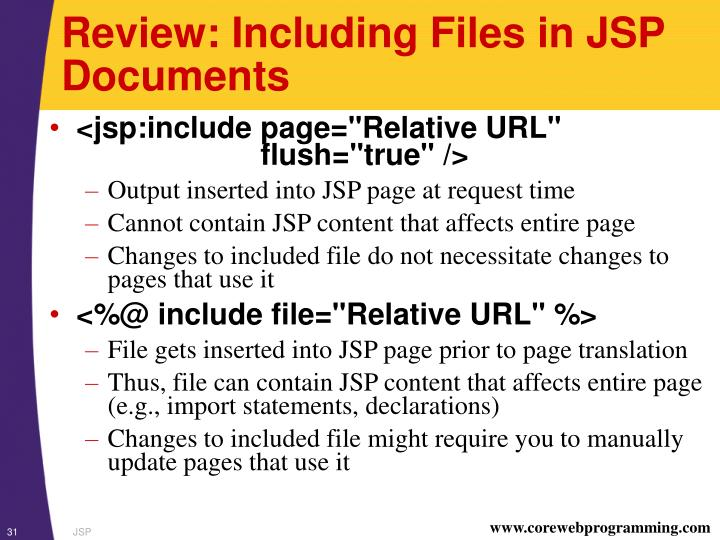 Review: Including Files in JSP Documents