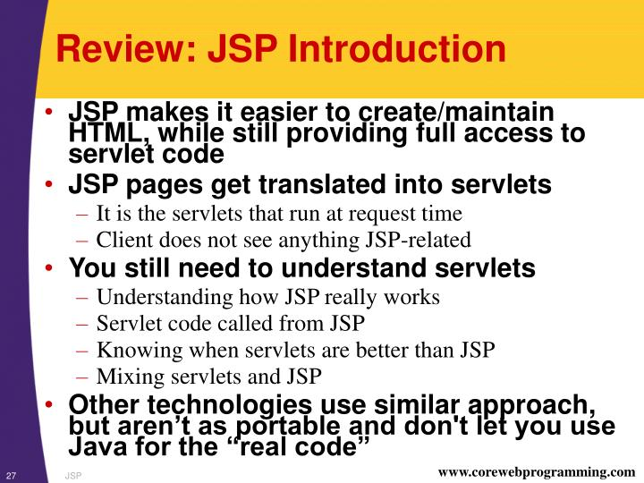 Review: JSP Introduction