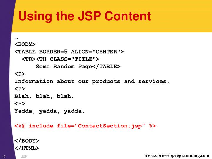 Using the JSP Content