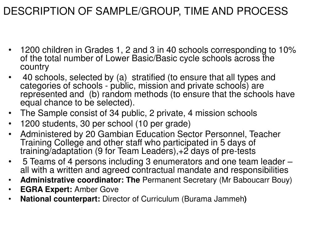 DESCRIPTION OF SAMPLE/GROUP, TIME AND PROCESS
