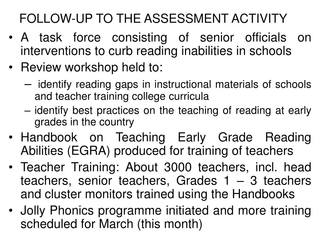 FOLLOW-UP TO THE ASSESSMENT ACTIVITY