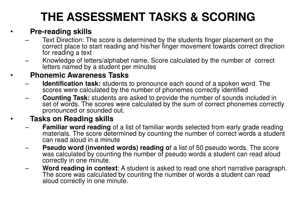 THE ASSESSMENT TASKS & SCORING