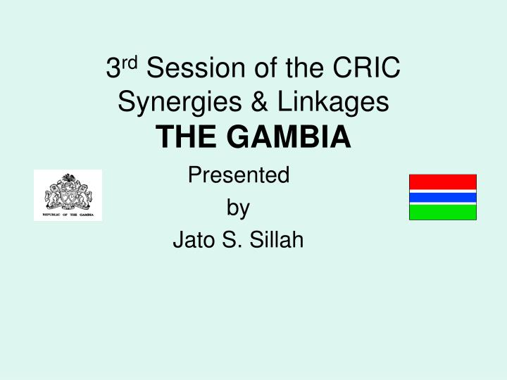 3 rd session of the cric synergies linkages the gambia