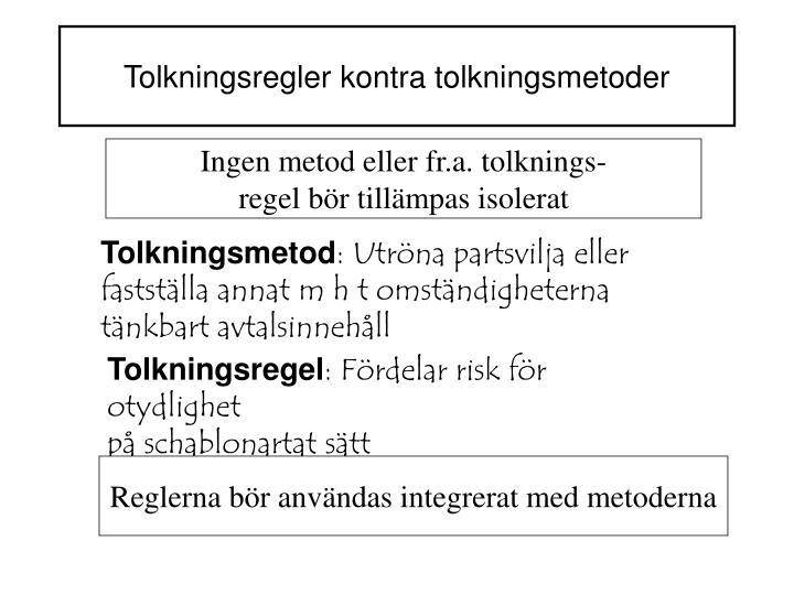 Tolkningsregler kontra tolkningsmetoder