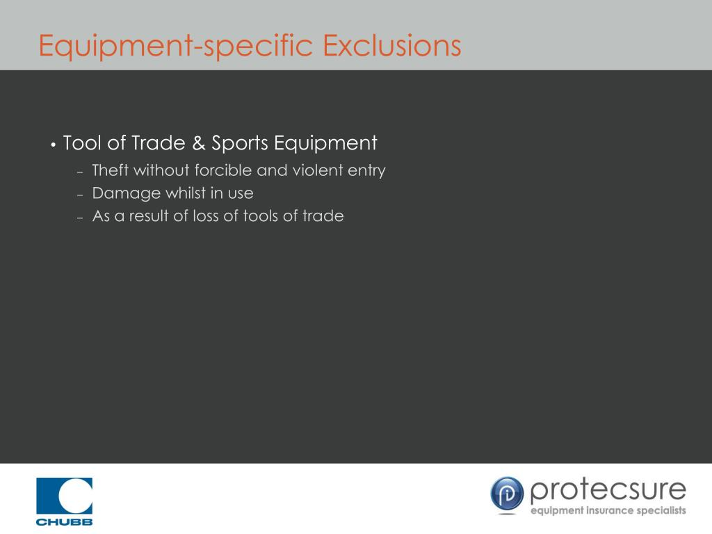 Equipment-specific Exclusions