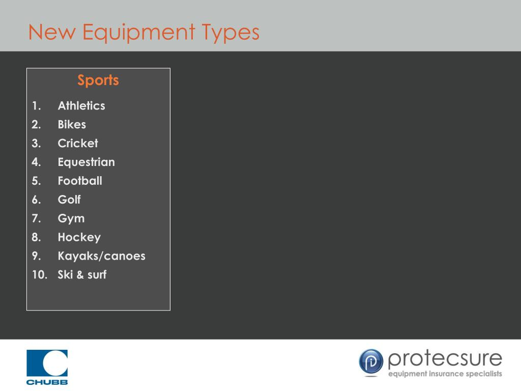 New Equipment Types