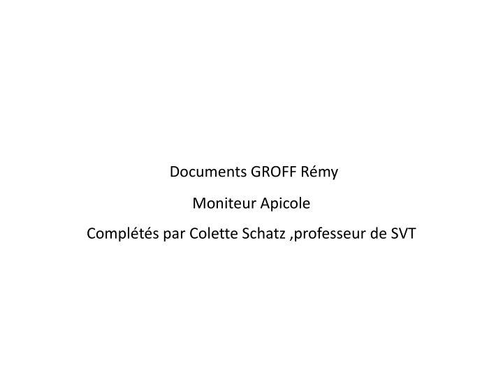 Documents GROFF Rémy