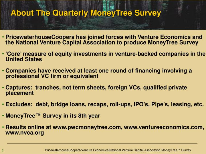 About the quarterly moneytree survey