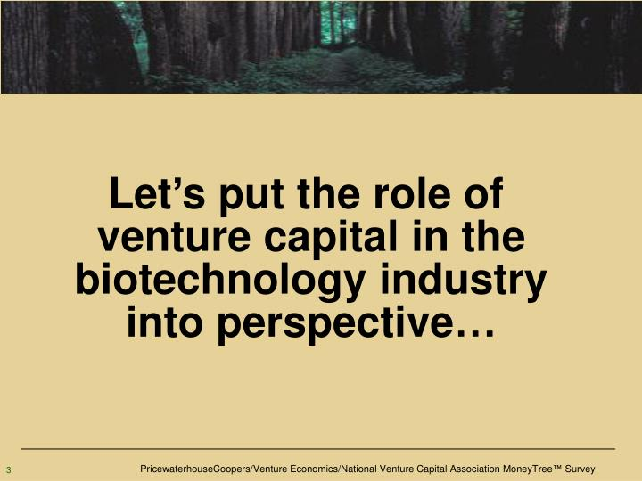 Let's put the role of venture capital in the biotechnology industry into perspective…
