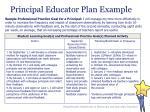 principal educator plan example