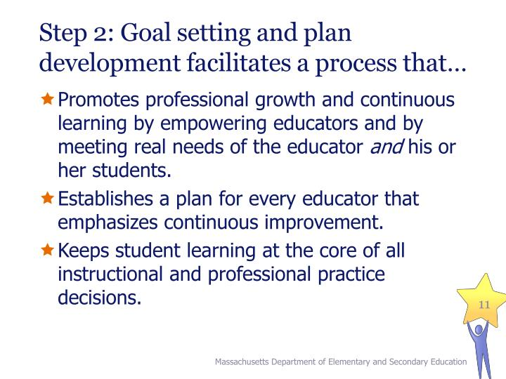 Step 2: Goal setting and plan development facilitates a process that…