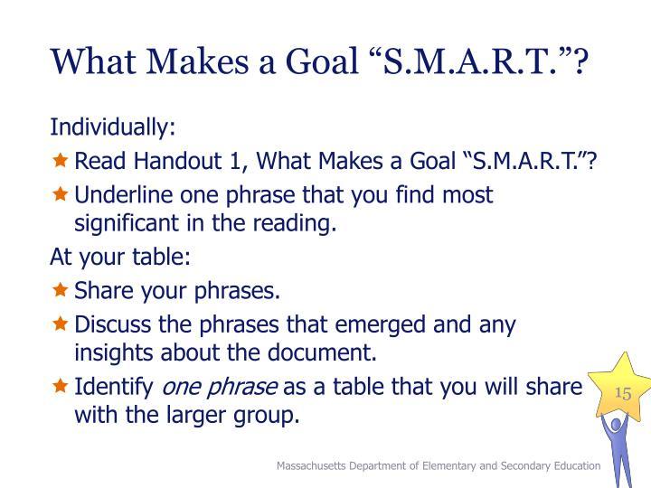 """What Makes a Goal """"S.M.A.R.T.""""?"""