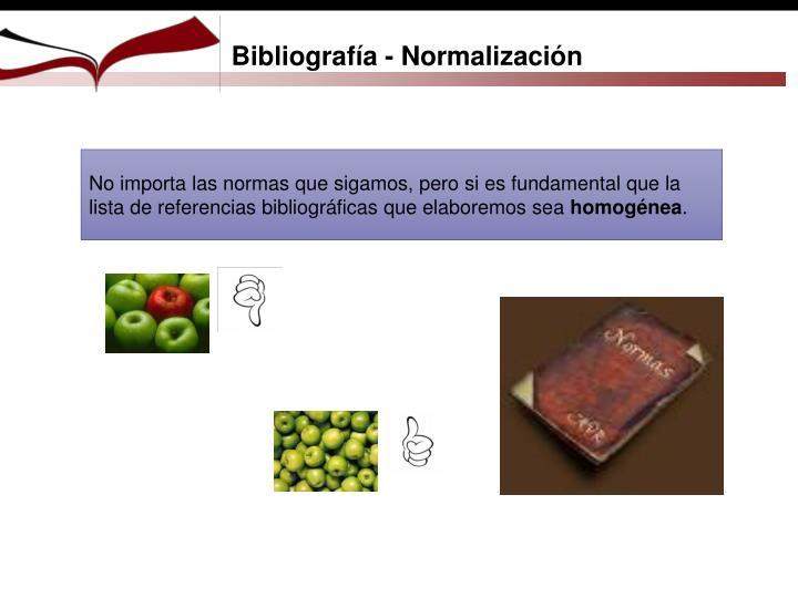 Bibliografía - Normalización