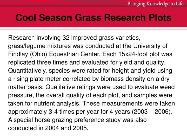 Cool season grass research plots