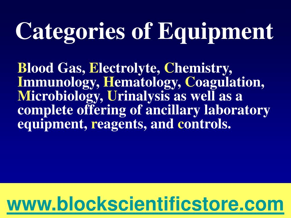 Categories of Equipment