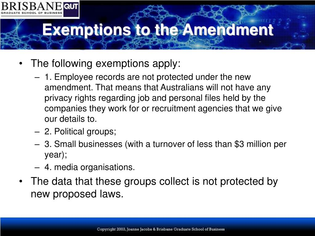 Exemptions to the Amendment