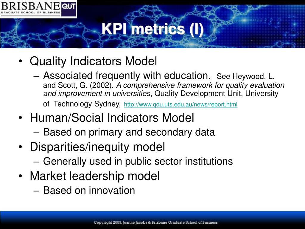 KPI metrics (I)