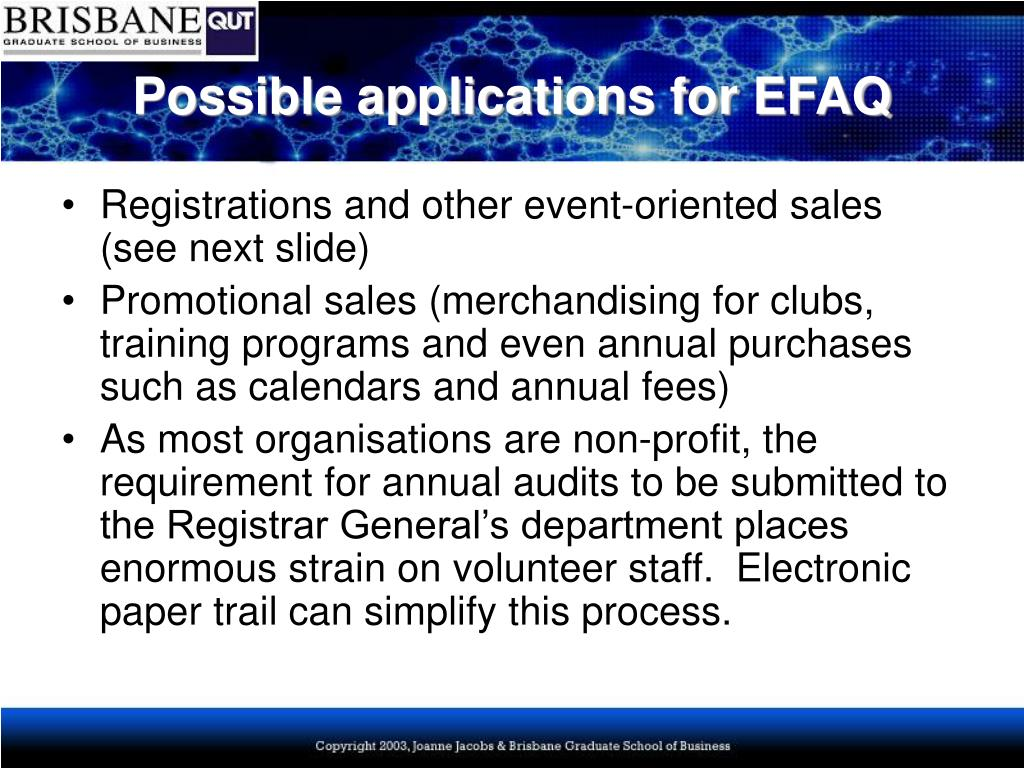 Possible applications for EFAQ