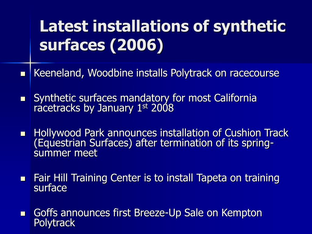 Latest installations of synthetic surfaces (2006)
