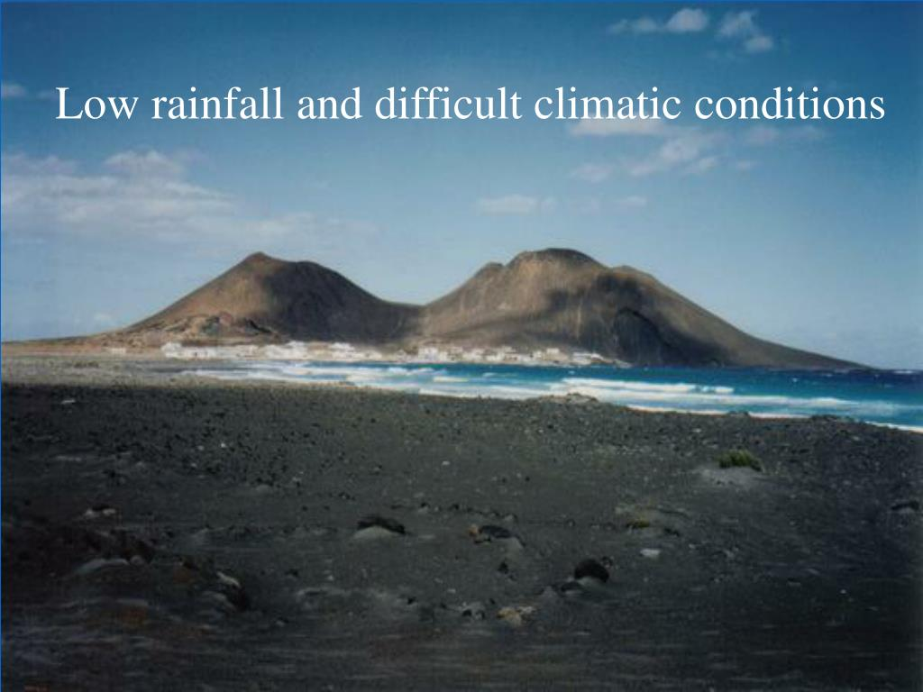 Low rainfall and difficult climatic conditions