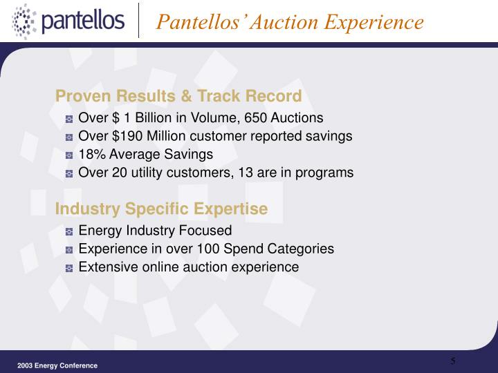 Pantellos' Auction Experience