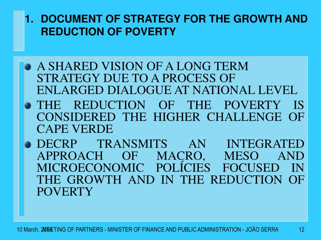 DOCUMENT OF STRATEGY FOR THE GROWTH AND REDUCTION OF POVERTY