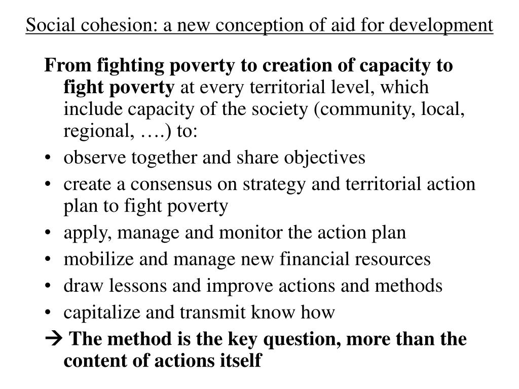 Social cohesion: a new conception of aid for development