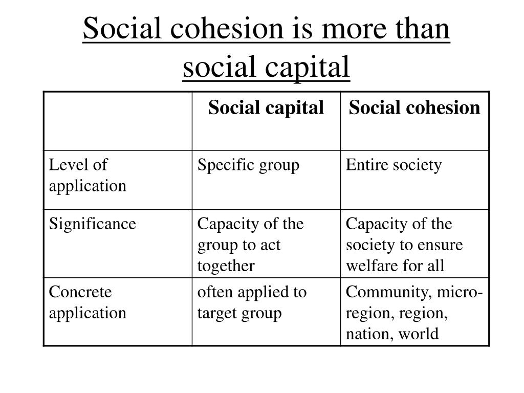 Social cohesion is more than social capital