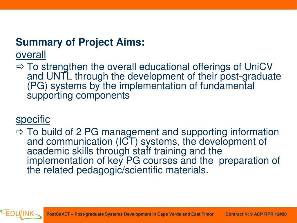 Summary of Project Aims: