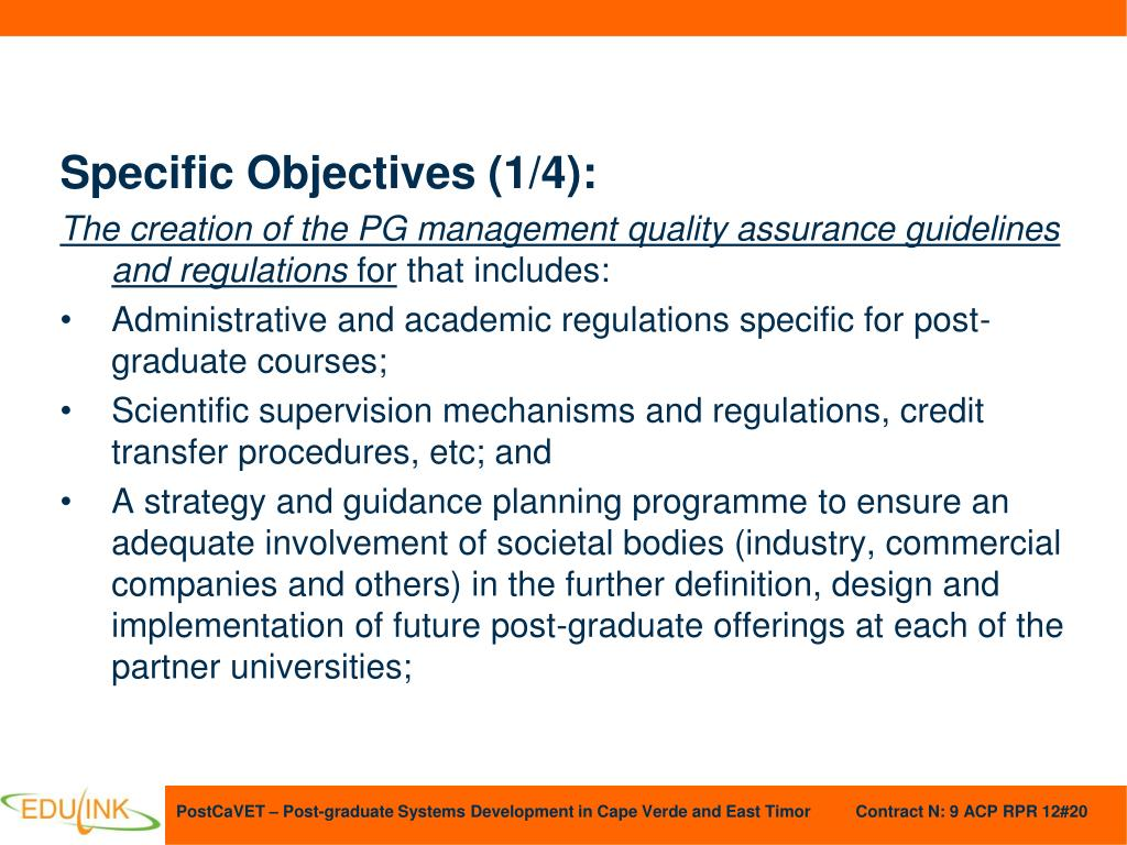 Specific Objectives (1/4):