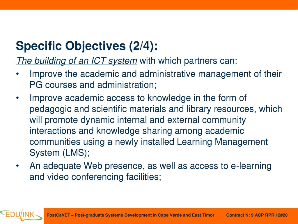 Specific Objectives (2/4):