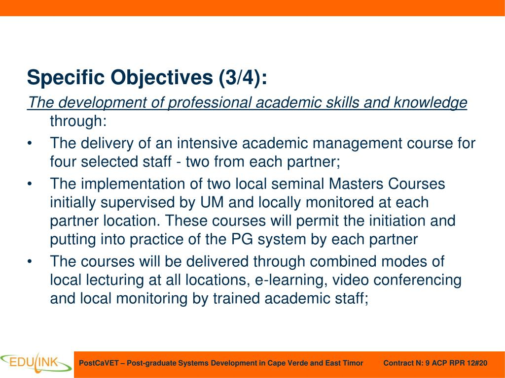 Specific Objectives (3/4):