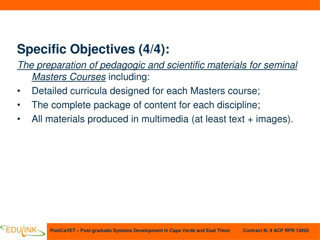 Specific Objectives (4/4):