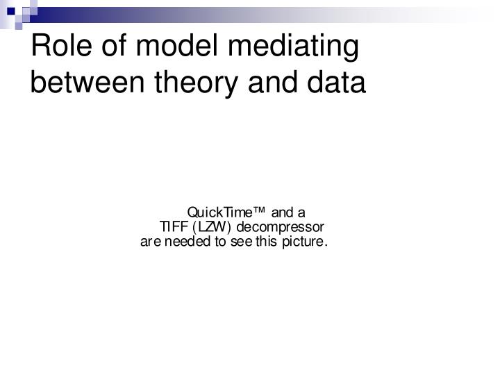 Role of model mediating between theory and data