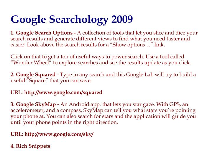 1. Google Search Options -