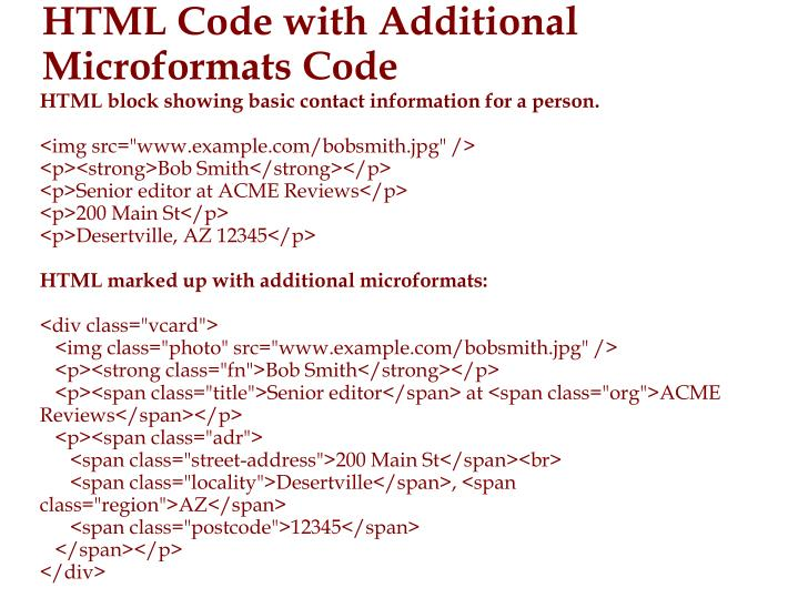 HTML block showing basic contact information for a person.
