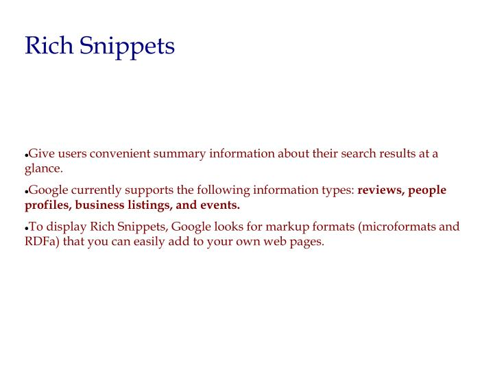 Give users convenient summary information about their search results at a glance.