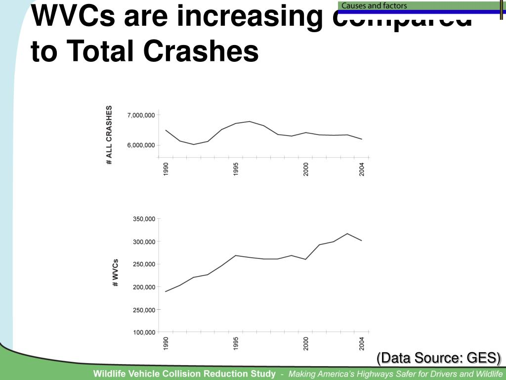 WVCs are increasing compared to Total Crashes