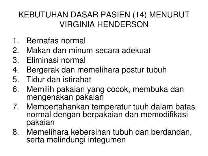 KEBUTUHAN DASAR PASIEN (14) MENURUT VIRGINIA HENDERSON