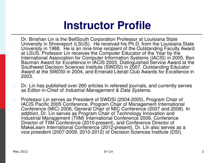 Instructor profile