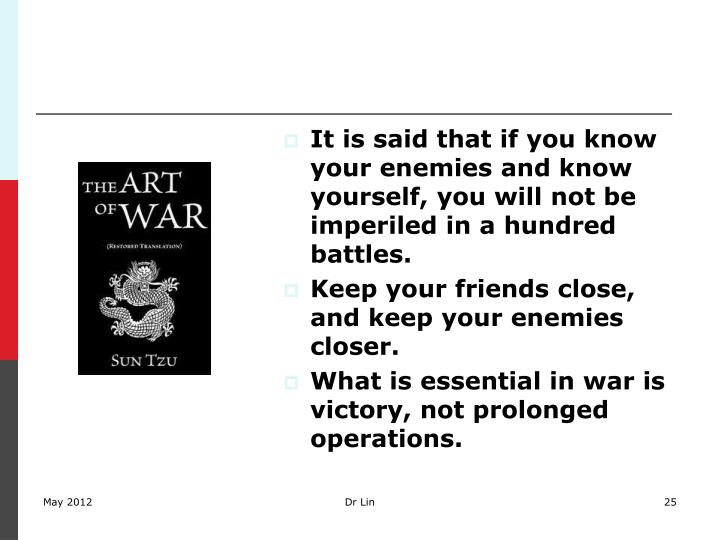 It is said that if you know your enemies and know yourself, you will not be imperiled in a hundred battles.