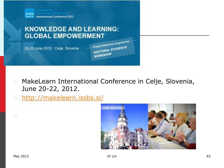 MakeLearn International Conference in Celje, Slovenia, June 20-22, 2012.