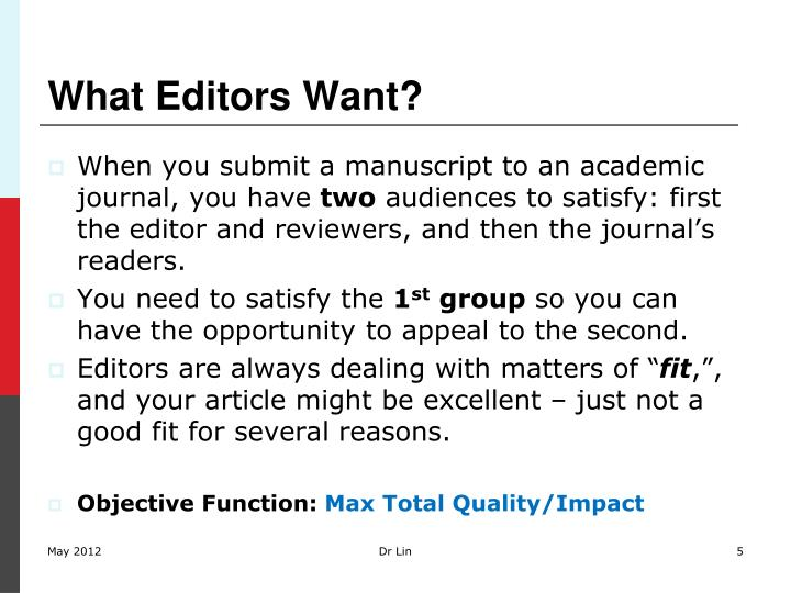 What Editors Want?