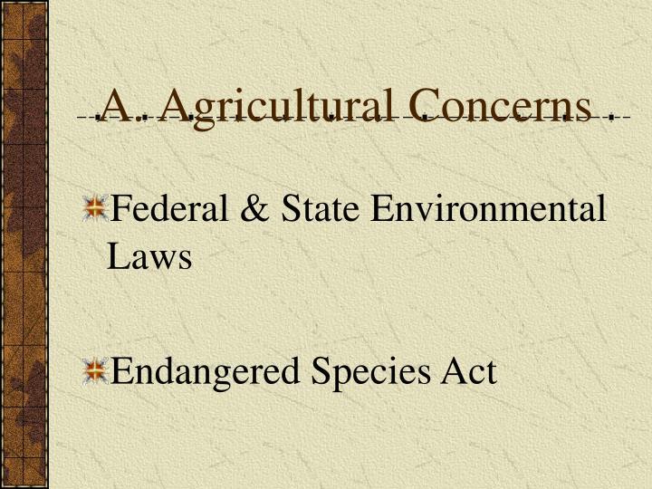 Agricultural Concerns