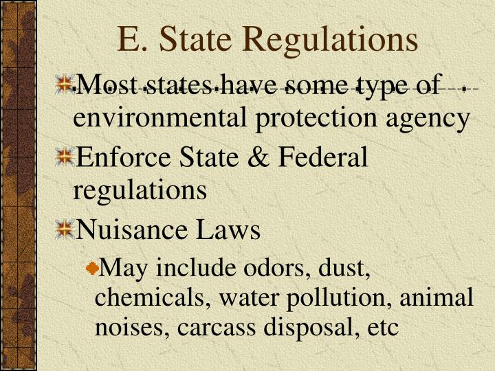 E. State Regulations