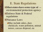 e state regulations