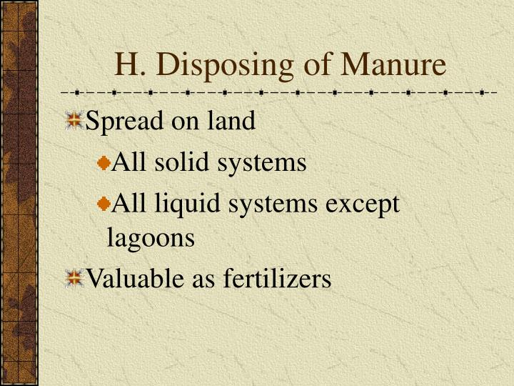 H. Disposing of Manure