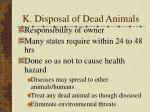 k disposal of dead animals