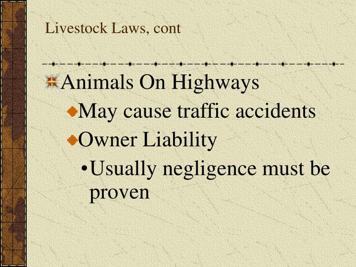 Livestock Laws, cont