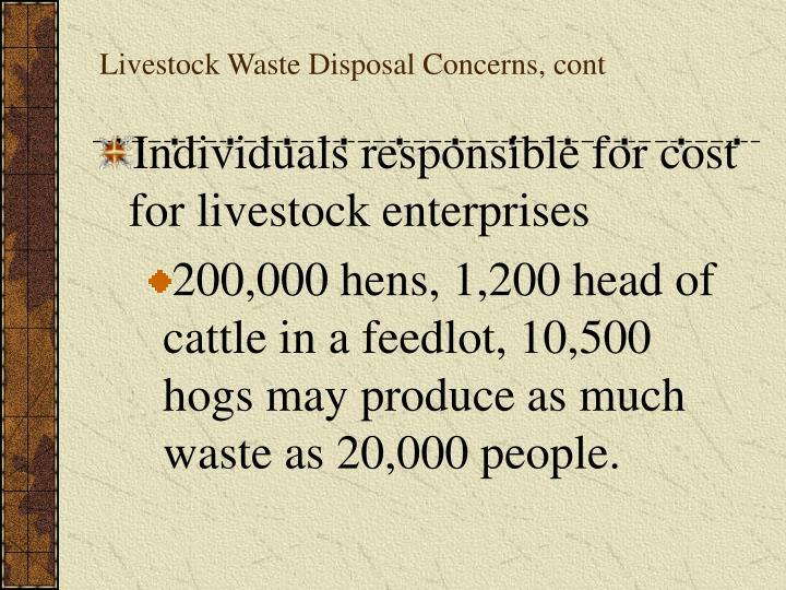 Livestock Waste Disposal Concerns, cont